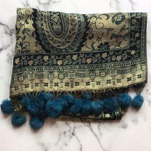 Pashmina Silk Blend Tassel Wrap Scarf Gold & Blue
